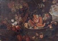 nature morte au plat de melons et au panier de grenades et raisins dans un paysage by maximilian pfeiler