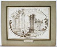 antike ideallandschaft mit ruinen und staffage by carlo antonio buffagnotti
