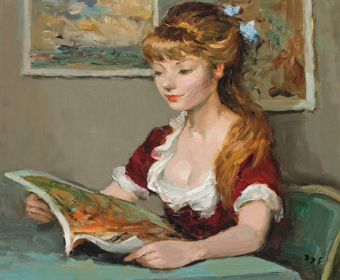 claudine a la lecture by marcel dyf