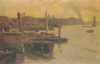 barges on the thames by john auld