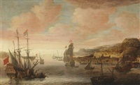 ships in the bay of a levantine harbour by jacob knyff