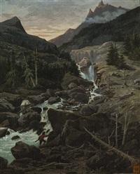 scène de chasse dans un torrent by eugène baudouin