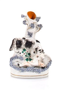 bud vase with landseer newfoundland rescuing a child by staffordshire
