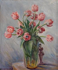 untitled (still life with tulips and figurine) by laura wheeler waring