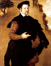 portrait of a gentleman wearing an elaborately embroidered doublet and a fur-trimmed black cape by lambert sustris