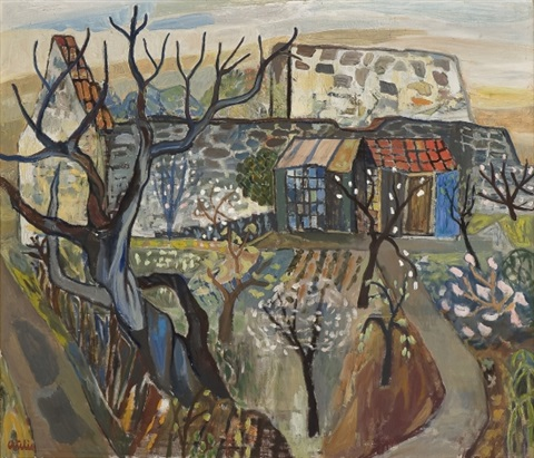 garden with flowering fruit trees by reidar aulie