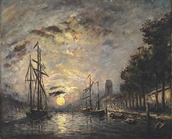 clair de lune sur un canal dordrecht by johan barthold jongkind