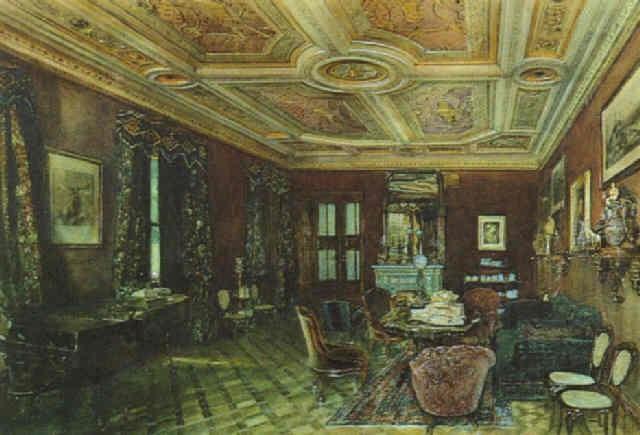 Interieur Salon mit historistischer Einrichtung und Kassettendecke ...
