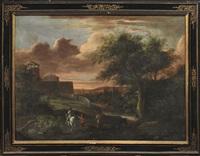 paesaggio con viandanti; paesaggio con pastori e armenti (2 works) by italian school-roman (17)