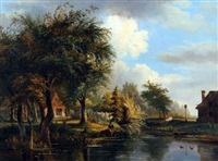 the river yare with cottage and young man fishing from the bank by george vincent