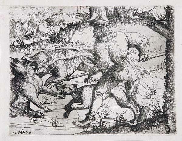 die wildschweinjagd by augustin hirschvogel