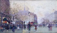 paris, la place saint-michel by eugène galien-laloue
