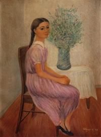 niña sentada con florero by emilio rosenblueth