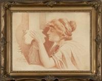 kobieta grająca na lirze (alegoria słuchu) by piotr stachiewicz