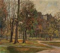 hellbrunner park im herbst mit monatsschlösschen by hans wulz