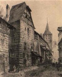 a street scene in nuremburg by lorenz ritter