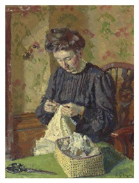woman sewing by harold gilman