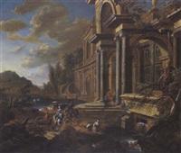 renaissancepalast an einem fluss mit eleganten figuren, reitern und einem hirten mit herde by jan baptist van der straeten