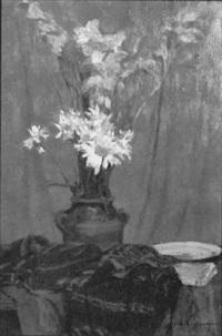 bouquet de fleurs sur table by charles-auguste edelmann