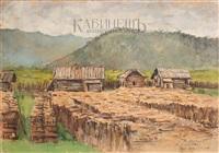 дровяной склад на станции карымская забайкальской железной дороги by evgeni evgen'evich lansere