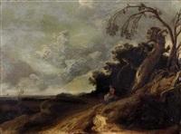 paysage de campagne avec une villageoise by jacob van geel