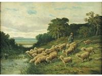 gardien et ses moutons by léon marie constant dansaert