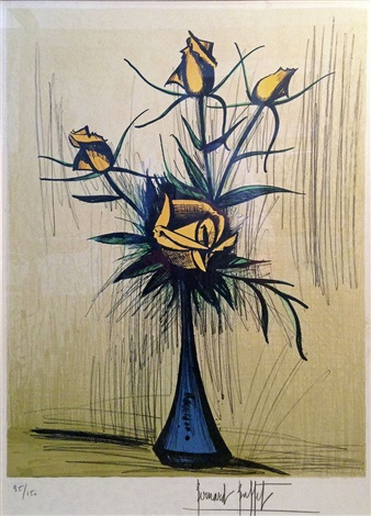 roses dans un vase bleu by bernard buffet on artnet. Black Bedroom Furniture Sets. Home Design Ideas