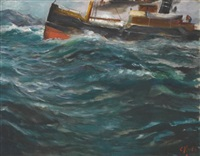 a ship in rough seas by christian krohg