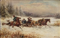 horse-drawn sleigh with men fighting (+ another, similar; pair) by stanislaw polian wolski