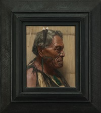 a sturdy stubborn chief pokai, a warrior chieftain of the ngati maru tribe by charles frederick goldie