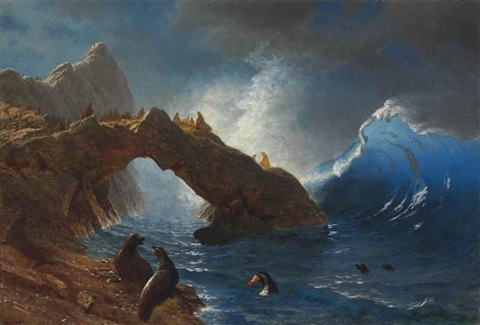 seals on the rocks by albert bierstadt