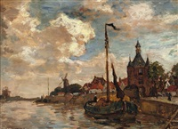 the harbour of hoorn with the hoofdtoren by charles dankmeijer