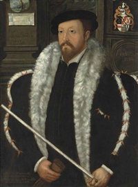 portrait of thomas wentworth, 1st baron wentworth (1501-1551), in a high-collared black doublet and a fur-trimmed coat, holding the white rod of the lord chancellor and gloves by anglo-flemish school (16)