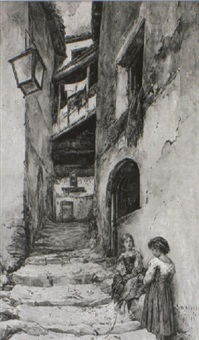 small girls in a street, anticoli by daniele bucciarelli