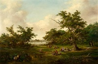 picnic at gainsborough beside the orwell by robert burrows
