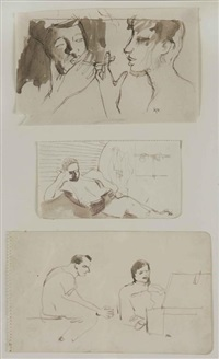 figure lighting a cigarette; soldier reading; two soldiers various sizes by keith vaughan