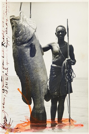 nguya and 201 lb nile perch alia bay lake rudolf by peter beard