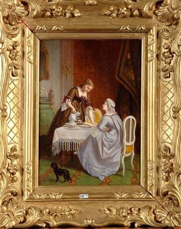 deux dames prenant le thé by florent willems