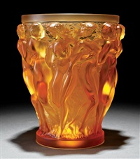 bacchantes amber frosted crystal vase by rené lalique