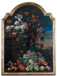 nature morte de fleurs et de fruits dans un paysage by coenraet (conrad) roepel