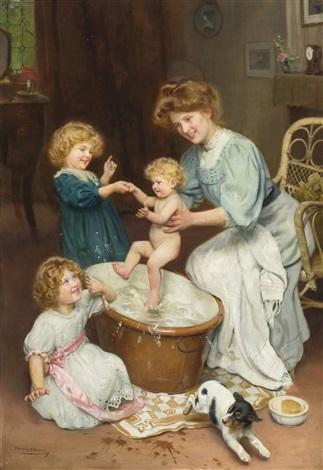 Babys bath time by Arthur John Elsley on artnet