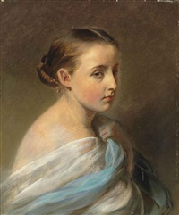 portrait of a girl, head and shoulders, draped in a blue and white wrap by franz xaver winterhalter