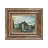 paysage montagneux au pont animé de personnages by tobias verhaecht