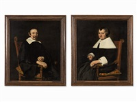 portraits of a dutch couple (2 works) by johannes cornelisz verspronck