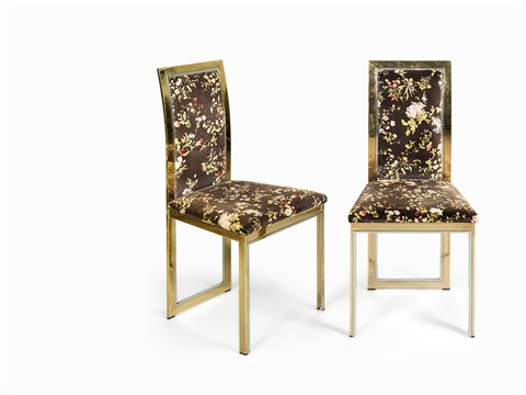 Eight Brass And Chrome Dining Chairs By Romeo Rega