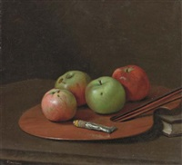 apples on an artist's palette by g. pierre beauregard