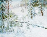 paysage de neige by wladimir krivoutz