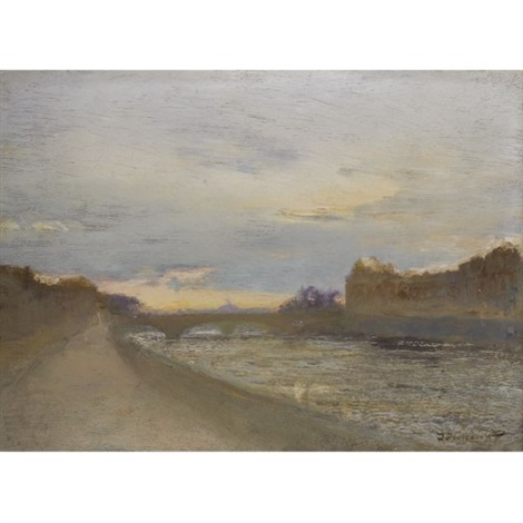 evening view of the seine by the louvre by ivan pavlovich pokhitonov