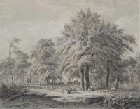 bergers et leurs troupeaux dans un paysage de sous-bois by jacobus theodorus abels