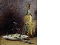 still life with cheese and bottle by guillaume romain fouace